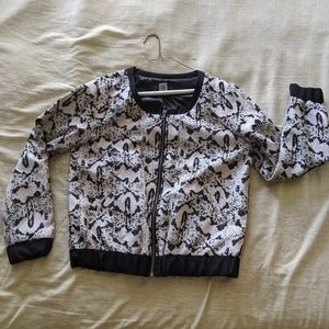 Urban Outfitters biege black & silver bomber